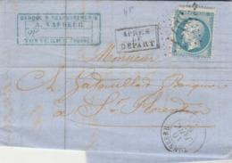 Yvert 22 Lettre Entête Vasseur TONNERRE Yonne 10/1/867  GC 3971 Pour St Florentin - Postmark Collection (Covers)