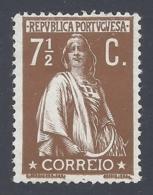 PORTUGAL 1912 CERES 7 1/2 BISTRE PAPER COUCHE Nº 213 - Nuovi