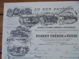 FACTURE - PARIS 1er - 1894 - AU BON PASTEUR, LAINES, COTONS... POIRET FRERES ET NEVEU - BELLE ILLUSTRATION - Frankreich