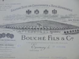 FACTURE - EPERNAY, MARNE 1924 - CHAMPAGNES ET VINS MOUSSEUX : BOUCHE FILS ET CIE - ETAT MOYEN - VOIR SCAN - Frankreich