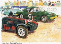Lotus Seven Et Lotus Elan Au Départ  - Aquarelle Par Jean-Luc Marsaud (signée)  - (A4 30x21cms Art Print) - Sport Automobile