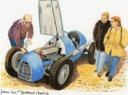Gordini-Simce F2 Voiture De Course  - Aquarelle Par Jean-Luc Marsaud (signée)  - (A4 30x21cms Art Print) - Autres