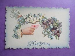 CPA FANTAISIE DECOUPIE SAINTE CATHERINE MAIN FLEURS COLOMBE - Sainte-Catherine