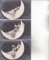 CPA ILLUSTRATEUR , 3 Cartes.  ( Croissants De Lune.) - Illustrateurs & Photographes