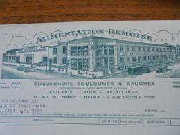 FACTURE - REIMS, MARNE, 1955 - ALIMENTATION REMOISE : ETS GOULOUMES ET BAUCHET  - DECO + CAFE DONALD, VOIR SCAN - Frankreich