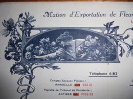 FACTURE - ANTIBES, ALPES MARITIMES, 1939 - EXPORTATION DE FLEURS NATURELLES : CALIXTE SCHIERANO - BELL DECO - Frankreich
