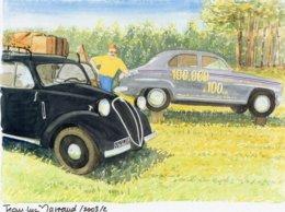 Simca Aronde (100,000 A 100kms) - Fiat Topolino  - Aquarelle Par Jean-Luc Marsaud (signée)  - (A4 30x21cms Art Print) - PKW