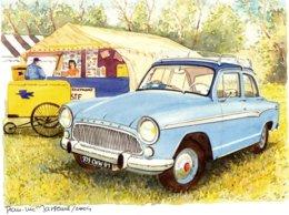 Simca Aronde A La Bourse  - Aquarelle Par Jean-Luc Marsaud (signée)  - (A4 30x21cms Art Print) - Voitures De Tourisme