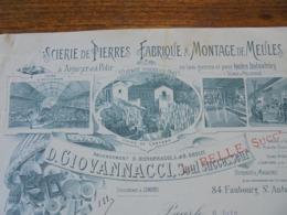 FACTURE - PARIS XIIème - SCIERIE DE PIERRES ET MONTAGE DE MEULES : D. GIOVANNACCI  - BELLE DECO - Frankreich