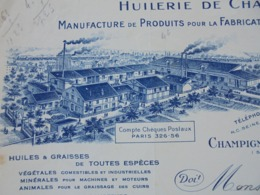 FACTURE - CHAMPIGNY SUR MARNE, 1931 - HUILERIE DE CHAMPIGNY : CL. MICOUD ET SES FILS - DECO - Frankreich