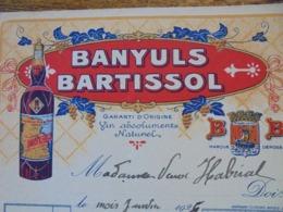 FACTURE - APERITIFS - BANYULS, BARTISSOL, 1925 FACTURETTE - DECO - Frankreich
