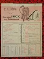 Tableau Des Affectations - Courroie SICA Pour Cyclomoteurs - Distributeur Ets René Martin 58 NEVERS - Other