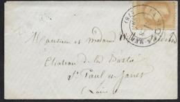Cachet Perlé Type 17 La SEYNE-S-MER (Var), 1869,Carte De Visite Aff 10c N°28 A Empire Lauré,  Annulé Par Le Cachet, - 1849-1876: Klassik