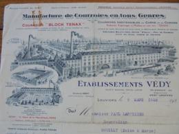 FACTURE - LOUVIERS, EURE, 1928 - COURROIES EN TOUS GENRES : ETABLISSEMENTS VEDY - DECO - ETAT VOIR SCAN - Frankreich