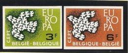 BÉLGICA // BELGIUM // BELGIQUE// BELGIE -  EUROPA 1961  - SERIE  2 V.- COMPLETA - SIN DENTAR  LUJO (IMPERFORATED) - Europa-CEPT