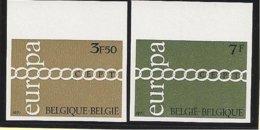 BÉLGICA // BELGIUM // BELGIQUE// BELGIE -  EUROPA 1971  - SERIE  2 V.- COMPLETA - SIN DENTAR  LUJO (IMPERFORATED) - Europa-CEPT