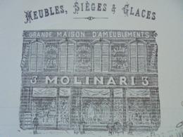 FACTURE - TOULON , VAR, 1912 - MEUBLES, SIEGES ET GLACES : F. MOLINARI - DECO - Frankreich