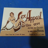 Visiting Card - Sex-Appeal - Paris - France - Visiting Cards
