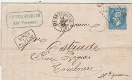Yvert 22 Lettre Entête Jourdan AIX En Provence Bouches Du Rhône 14/1/1865 à Toulouse   - Ambulant X 2 - Storia Postale