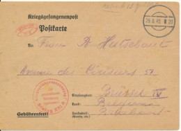 Carte Prisonnier De Guerre 19 Juin 1940 Camp De Passage 29.6.40 – Censure STALAG XIIIA Reçu Le 13 Juillet - WW II