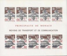 """EUROPA 1988/ MONACO-""""TRANSPORTES Y COMUNICACIONES""""- HOJA BLOQUE 171x 143 Con 10 TIMBRES -SIN DENTAR  LUJO-Yvert Nº 41 A - Europa-CEPT"""
