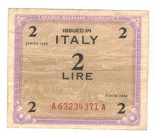 Italy 2 Lire Allied Milit. Currency, 1943. VF. - [ 3] Military Issues