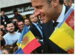 ANDORRA.Visite Du President Macron,Co-Prince D'Andorre, Septembre 2019. De Gaulle Co-Prince Au Dos, Avec Cachet Andorre. - Andorre Espagnol