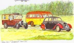 Peugeot 202 - Autobus Citroen Coudols-Millau - Hotel Taxi  - Aquarelle Par Jean-Luc Marsaud  - (A4 30x21cms Art Print) - Toerisme