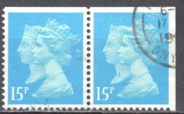 Great Britain 1990 - QE2 - Double Heads - 15p - Mi 1249D,E - Perf 13¾:14¼ - Used - 1952-.... (Elisabeth II.)