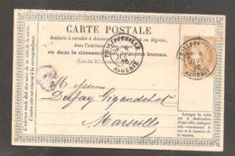 Carte Postale  15c Ceres Oblit  PHILIPPEVILLE   ALGERIE  1876 - 1871-1875 Ceres