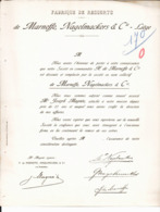 Fabrique De Ressorts De Marneffe, Nagelmackers & Cie. Liège. Associé M. Joseph Magnée. - Bélgica