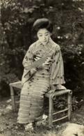 Japan, Beautiful Geisha Lady In Striped Kimono With Fan (1930s) RPPC Postcard - Japan
