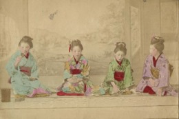 Japan, Beautiful Geisha Ladies Playing Game (1899) Hand Painted RPPC Postcard - Japan