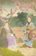 Japan, Beautiful Geisha Ladies In Garden (1900s) Hand Painted Postcard - Japan