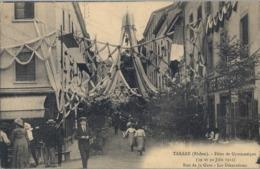 1912 FRANCIA - TARARE , T.P. SIN CIRCULAR ,  FÉTES DE GYMNASTIQUE , GIMNASIA , LES DÉCORATIONS . RUE DE LA GARE - Gimnasia