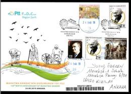 OD-1871R 150TH BIRTH ANNIVERSARY OF MAHATMA GANDHI F.D.C. REGISTERED MAIL - Mahatma Gandhi