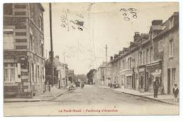 CPA ANIMEE LA FERTE MACE, ANIMATION DANS LE FAUBOURG D'ARGENTAN, PUB MOBILOIL, ORNE 61 - La Ferte Mace