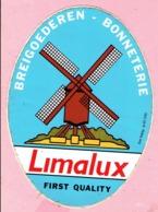 Sticker - Breigoederen - Bonneterie - LIMALUX - FIRST QUALITY - Molenstraat Keerbergen - Molen - Autocollants