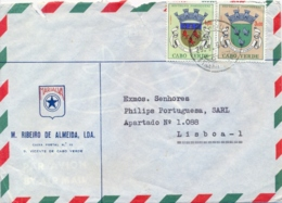 Cape Cabo Verde 1964 Commercial Cover From S. Vicente To Portugal With Coat Of Arms 1 $ + 3 $ - Briefe U. Dokumente