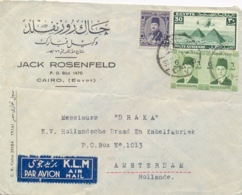 Egypt 1947 Airmail Commercial Cover To Netherlands With 2 X 6 Mills + 20 Mills + Airmail Stamp 30 Mills - Egitto