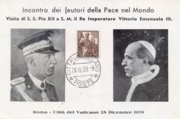 Città Del Vaticano 1939 Cartoncino Ricordo Visita Di Papa Pio XII A Vittorio Emanuele III - Papi