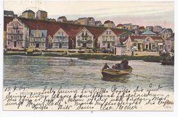 Helgoland 1905, Gebr. Farb AK  Strandpartie M. Häusern U. Gepäckhalle. #1015 - Germania