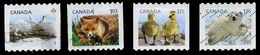 Canada (Scott No.2426-29 - Enfant De La Faune / Wildlife's Babys) (o) Bande / Coil Set - 1952-.... Règne D'Elizabeth II