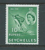 Seychelles 1954 QEII Definitive 10R Sail Fish High Value MNH - Seychelles (...-1976)