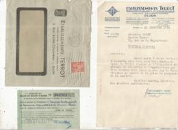 Lettre Commerciale + Enveloppe+ Talon De Billet D'achat, BICYCLETTES,  MOTOCYCLETTES ,ets TERROT, DIJON ,1944 - Automobile