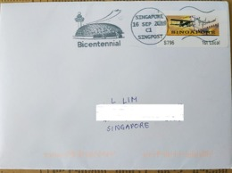 Singapore 2019 Airplane Airport Bicentennial Slogan Postmark - Flugzeuge