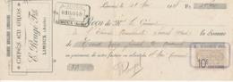 Chèque De Banque Pub Grande Brûlerie Limouxine Cafés En Qgqros E-Rougé Fils Limoux Aude 1918 Timbre Quittance 10 Cts - Cheques En Traveller's Cheques