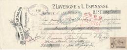 Chèque De Banque Pub Chaux De Cardalou  Arthez  Tarn Lavergne & Espinasse Timbre Quittance 5 Cts 1912 - Chèques & Chèques De Voyage