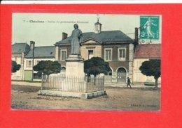 80 CHAULNES Cpa Animée Statue Du Grammairien Lhomond    7Edit B D - Chaulnes
