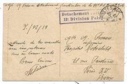 POLOGNE POLSKA POLAND CARTE KRAKOW GRIFFE DETACHEMENT D'ARTILLERIE 11E DIVISION POLONAISE 6.12.1919 RARE - Storia Postale